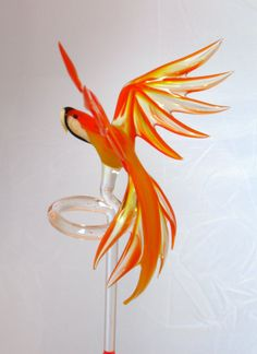 Parrot  orchid rod  glass animal figurine by CaraMagicGlass, $40.00