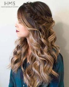 Curly All Down Hair with a Fishtail Braid