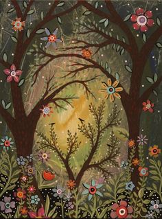 Forest Flowers 12x16 inch ORIGINAL CANVAS PAINTING Folk Art Birds Trees KARLA G #FolkArtAbstractPrimitive