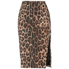 Altuzarra Faun Leopard-Print Cotton Pencil Skirt ($475) ❤ liked on Polyvore featuring skirts, brown, leopard skirt, cotton pencil skirt, brown skirt, leopard pencil skirts and brown cotton skirt