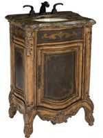 The Winslow Petite Antique Single Vanity has an outstanding antique style that completes any small bathroom or powder room. The cabinet is made from mahogany solids with an acid wash and etched brass sheeting. The single door cabin Vintage Bathroom Vanities, Discount Bathroom Vanities, Tuscan Bathroom, Single Sink Bathroom Vanity, Vanity Sink, Toilet Vanity, Porcelain Sink, Wood Vanity, Vanity Decor