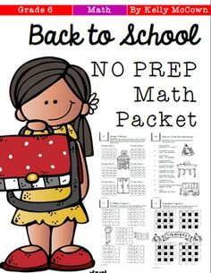A Back To School Math NO PREP packet that will keep your sixth graders engaged on day 1 in your classroom! This packet is just plain fun. Not only is it PACKED with fifth-grade common core math problems, it also gives students fun coloring, puzzles, and problem solving.