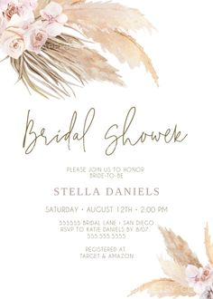 Boho Bridal Shower Ideas, this Pampas grass Bridal Shower Invitation is perfect . - Boho Bridal Shower Ideas, this Pampas grass Bridal Shower Invitation is perfect for a bohemian shower. Halloween Hacks, Halloween Tipps, Bohemian Baby, Boho Baby Shower, Baby Shower Decorations For Boys, Bridal Shower Decorations, Bohemian Invitation, Baby Shower Invitaciones, Bridal Shower Invitations