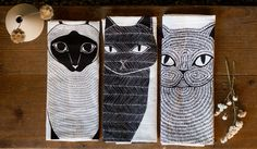 Tea Towel Bundle 3 Cats Tea Towels Printed with Eco by Gingiber
