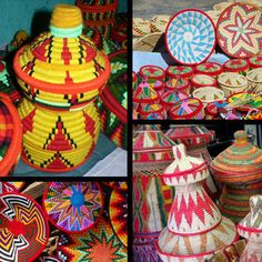 Ethiopian Mesobs- I think that these are great for a centerpiece! They are colourful and represent his culture!