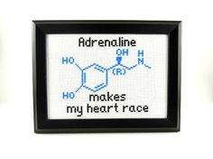 Adrenaline Molecule - Adrenaline Makes My Heart Race Finished Cross Stitch Embroidery Framed Art. $40.00, via Etsy.