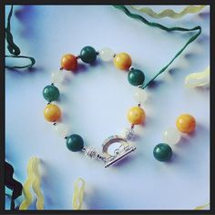 Made with green, white and gold gemstone crystal beads x Crystals And Gemstones, Gemstone Beads, Crystal Beads, Amber Crystal, Beaded Necklace, Beaded Bracelets, White Jade, Luck Of The Irish, Green Aventurine