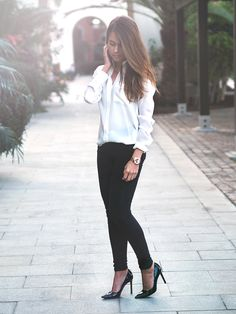 class: white shirt, black skinnies, black pumps + gold watch as an accent