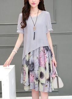 Szyfon Kwiatowy Krótki Rękaw Do Połowy Łydki Nieformalny Suknia