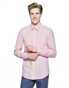 Camisa de algodón 100% con microestampado por toda la prenda, cuello italiano y…