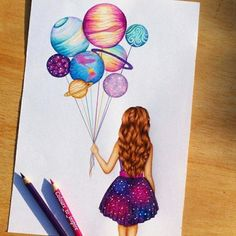 art, drawing, and planet image tattoo girl drawing Image in Art collection by Shan on We Heart It Amazing Drawings, Beautiful Drawings, Cute Drawings, Cool Drawings Tumblr, Cool Artwork, Amazing Artwork, Cool Paintings, Cute Art, Pretty Art