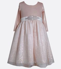 Blush with a touch of sparkle makes the Mariel Dress the trendiest Holiday dress for the season.