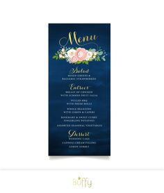 $35 on ETSY | The JENNY . Menu Wedding Card or Sign . Gold Calligraphy & Navy Chalkboard . White Roses Pink Peonies Dusty Miller . Custom Flowers PDF by BuffyWeddings on Etsy