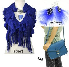 Blue tone woman accessories. charms scarf, shoulder bag, feather earrings.