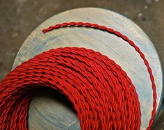 Red Twisted Cloth Covered Wire Vintage Fabric Lamp Cord Antique Lights Rayon | eBay