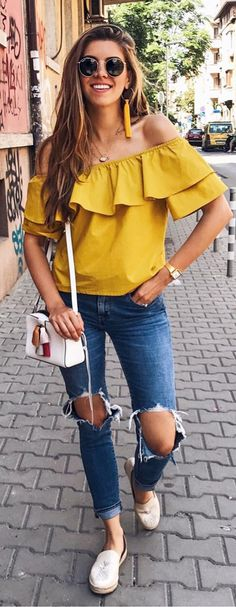 Serve up Little Miss Sunshine vibes in this bright yellow top that screams summer! Ruffly Mirth Off-shoulder Top in Mustard featured by thecharmingolive Blog
