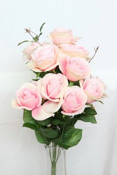 11 Perfectly Bloomed Roses on Bush in Whimsical Pink and Cream - Stemmed Silk Roses - ITEM 0398