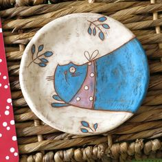 cat sgrafitto ceramic plate art by giosy