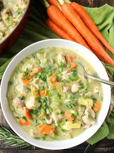 This Paleo Whole30 Chicken Pot Pie Soup is ultimate comfort food made healthy! Thick, creamy, and made with all real food ingredients! Dairy free, gluten free, and low FODMAP. I'm pretty excited to share this soup with you! I tried making a version last year and just wasn't happy with the cre