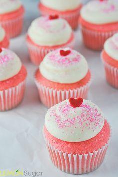 Pink Velvet Cupcakes made with Buttermilk | www.lemon-sugar.com ♥