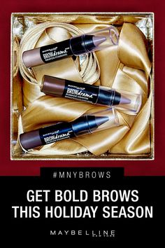 Get ready to unwrap some serious brow game this holiday season. The new Maybelline Brow Pomade Crayon is here! It's super easy to use and you can watch it sculpt and tame as it colors. Go from unruly brows to bold, wow brows in just two strokes. Click the pin to shop and learn more about how to get game changing #MNYBrows!