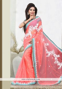 Georgette Fabric Butta Work With Embroidered Pallu Saree