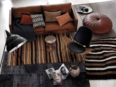 Layered rugs, midcentury, industrial, modern, non-bulky pieces' minimal, cozy, love this so much!