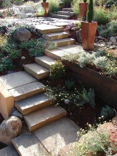 The different elevations are solved with stone stairs and stucco and steel retaining walls. Boulders and plantings all play together in this front entry scene.