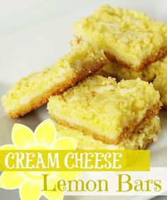 Cream Cheese Lemon Bars from favfamilyrecipes.com #recipes #lemonbars #dessert