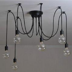 6 têtes Vintage industriel Edison Lampe de plafond lustre multiples réglable pour plafond Araignée Lampe pendentif éclairage: Amazon.fr: Luminaires et Eclairage