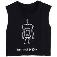 WithChic Black Sleeveless Robot Print Cropped T-shirt (36 PLN) ❤ liked on Polyvore featuring tops, t-shirts, crop t shirt, cut-out crop tops, print t shirts, sleeveless tee and round top