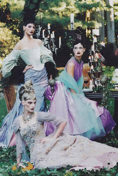 christian lacroix haute couture f/w 1996, 'a feast for the eyes' by steven meisel for vogue us december 1996