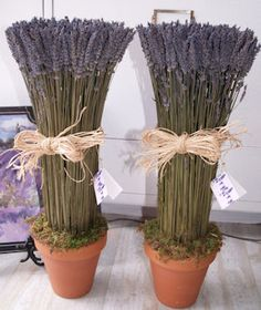 "Dried Lavender Centerpieces/Decor.  May even have an extra ""life"" in them, re-purposed as decor for the lavender and cream nursery?"