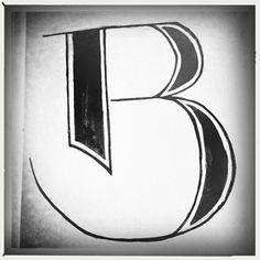 B, Grote letter, handlettering