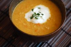 Spicy Cauliflower Soup by Alice Waters via janespice: Alice combines usually mundane cauliflower with a combination of Indian spices of turmeric, cumin, coriander and a mix of chile powder and red chile flakes to create a warm, soft and robust soup with a tantalizing kick—and a deep yellow hue. The spices lift and bring out the true earthy and subtle flavor of cauliflower. #Soup #Cauliflower #Spicy #Healthy
