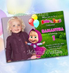 Masha and the Bear Party Invitation ONLY FILE by MariiaDesign