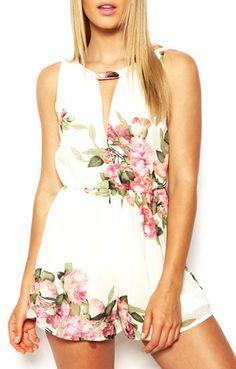 So CUTE! Pink Floral Print Deep V-neck Sleeveless Chiffon Jumpsuit #Floral #Print #Beach #Jumpsuit #Summer #Fashion