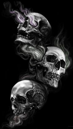 Badass Wallpapers For Android 04 0f 40 Three Skulls on Dark Black Background - HD Wallpapers | Wallpapers Download | High Resolution Wallpapers