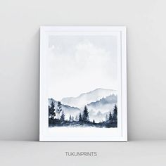 ** The purchase includes only the first picture. ** Forest Print, Landcsape Print, Pink … - All For Herbs And Plants Pink Watercolor, Abstract Watercolor, Watercolor Paintings, Simple Watercolor, Watercolor Artists, Navy Blue Wall Art, Blue Art, Art Aladdin, Blue Abstract Painting