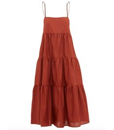 Matteau - The Tiered Cotton Dress - Womens - Dark Red Simple Dresses, Cute Dresses, Elegant Summer Dresses, Fall Dresses, Long Dresses, Prom Dresses, Formal Dresses, Minimalist Dresses, Beach Wear Dresses