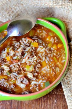 Stuffed Peppers Soup 2 from willcookforsmiles.com #soup #groundbeef #stuffedpeppers