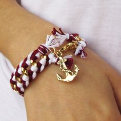 Nautical bracelet, white, red and gold chain, and an anchor charm - Made to order. $30.00, via Etsy.