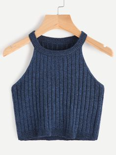 SheIn offers Marled Knit Ribbed Halter Neck Tank Top & more to fit your fashionable needs. Girls Fashion Clothes, Teen Fashion Outfits, Outfits For Teens, Summer Outfits, Cute Comfy Outfits, Cute Girl Outfits, Pretty Outfits, Jugend Mode Outfits, Vetement Fashion