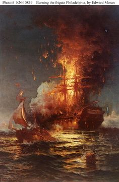 http://historyguy.com/Barbary_Wars.html  The burning of the Frigate USS Philadelphia in Tripoli Harbor during the Barbary Wars.
