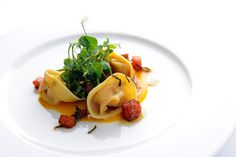 Pumpkin tortellini with chestnuts and a sage beurre noisette Pumpkin, chestnuts and sage feature in this glorious tortellini recipe from Stephen Crane. This buttery pumpkin recipe is an autumn favourite. Homemade Tortellini, Tortellini Recipes, Pasta Recipes, Vegetarian Cheese, Vegetarian Recipes, Savoury Recipes, Roast Pumpkin, Pumpkin Pasta, Great British Chefs