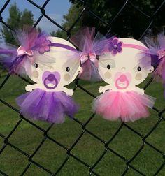Twins tutu / baby shower banner pink by NancysBannerBoutique
