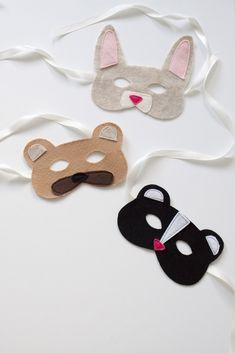 Woodland Animal Felt Masks DIY and Free Templates at Sewbon.com