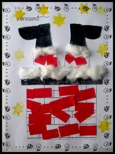 - voici notre père noel qui descend dans la cheminée !!! collage de papier rouge pour la cheminée et pantalon du père noel, collage de coton pour la neige et le haut des bottes et collage des bottes colorié par nounou et pour finir des tampons étoiles...
