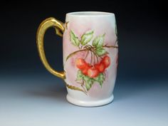 Antique Hand Painted and Signed Bavaria Porcelain Mug with Cherries, (1900-1930), Tankard
