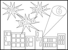 Super Hero Coloring Sheet. Print it out and have it on the table under the plate, set a jar of crayons and let them color before, during or after eating.